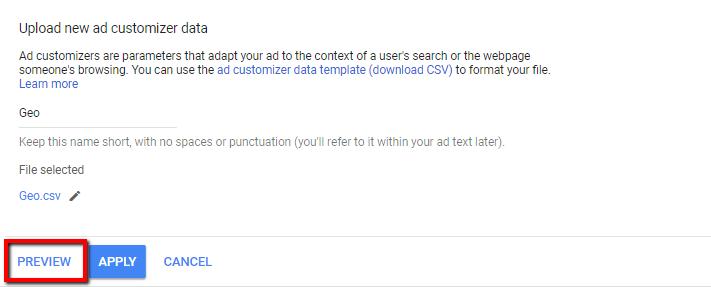 Geo ad customizer upload